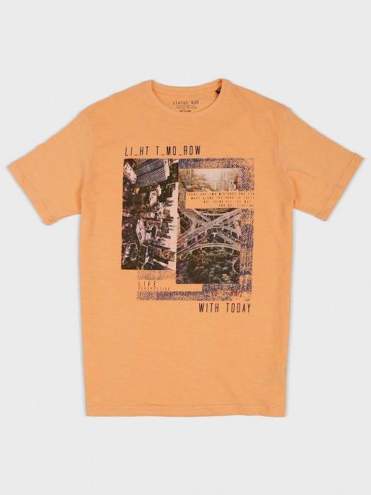 Status Quo Slim Fit Orange Printed T-shirt