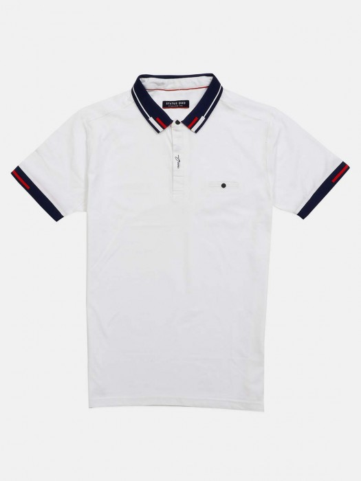 Status Quo White Solid Polo Neck T-shirt