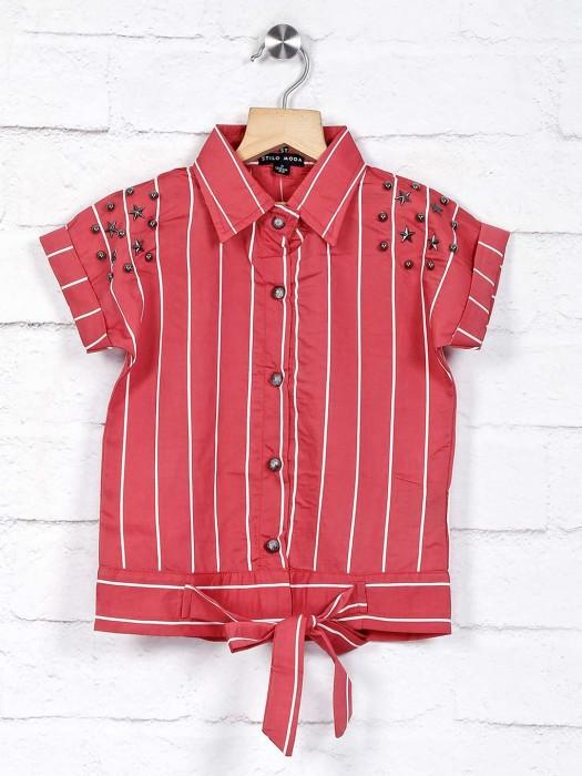 Stilomoda Attractive Pink Stripe Cotton Top