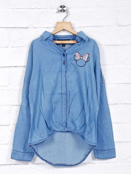 Stilomoda Blue Denim Casual Wear Top