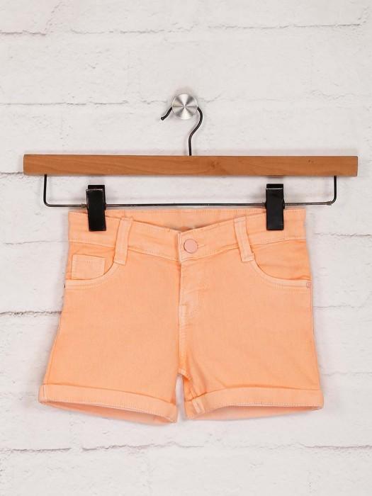 Stilomoda Denim Casual Wear Shorts In Peach
