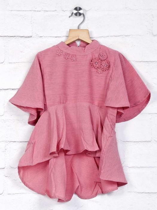 Stilomoda Solid Onion Pink Stylish Girl Top