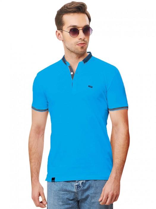 Stride Solid Aqua Hue Half Sleeves T-shirt