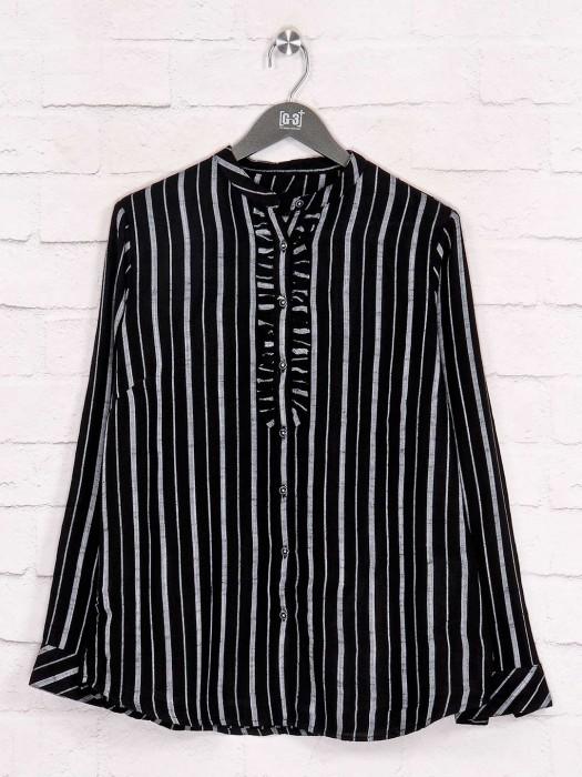 Stripe Black Cotton Shirt In Casual