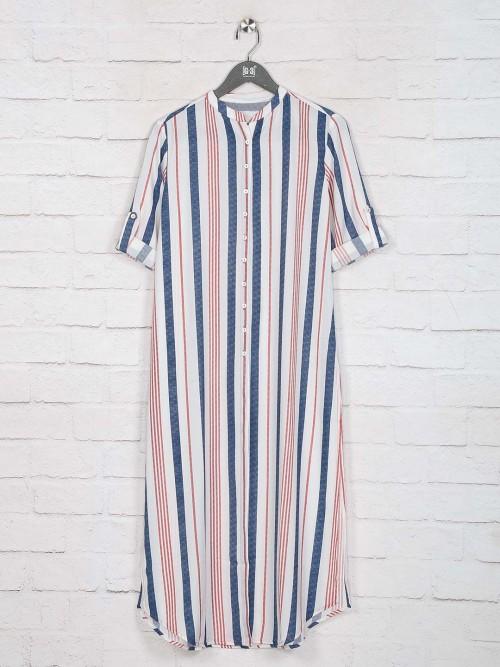Stripe Blue Elbow Sleeves Kurti