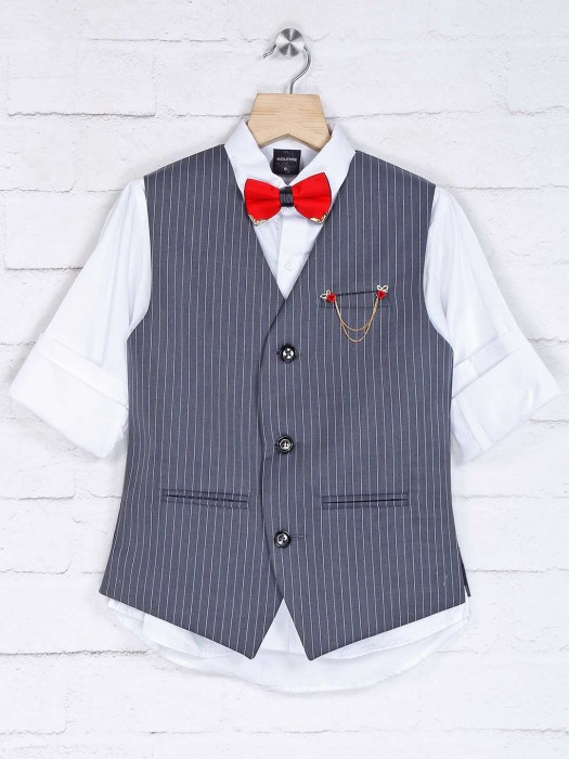 Stripe Grey And White Cotton Silk Waistcoat Set