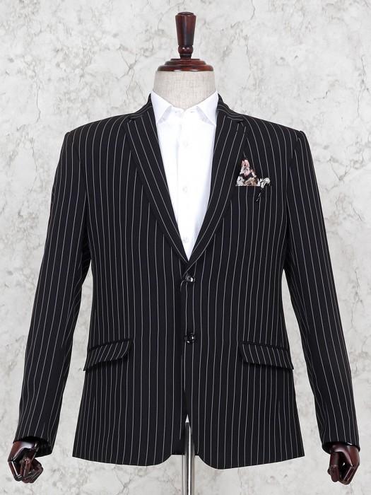 Stripe Pattern Black Hue Terry Rayon Blazer
