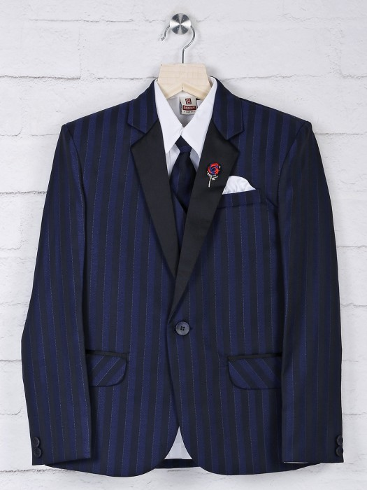 Stripe Pattern Navy Hue Terry Rayon Coat Suit