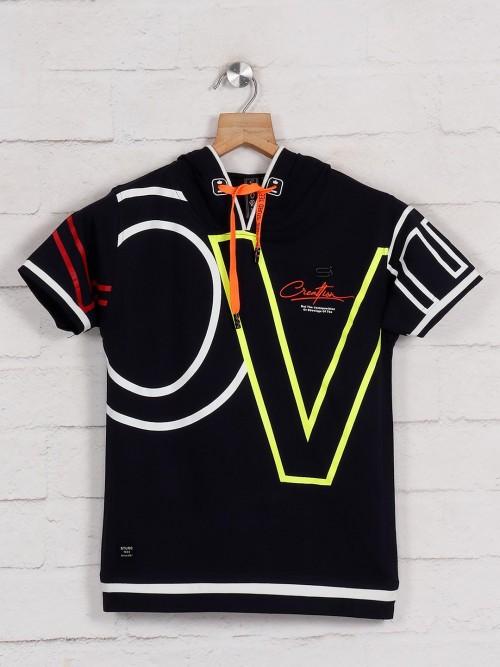 Sturd Black Cotton Printed T-shirt