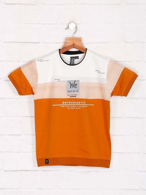 Sturd Casual Wear Orange Printed T-shirt