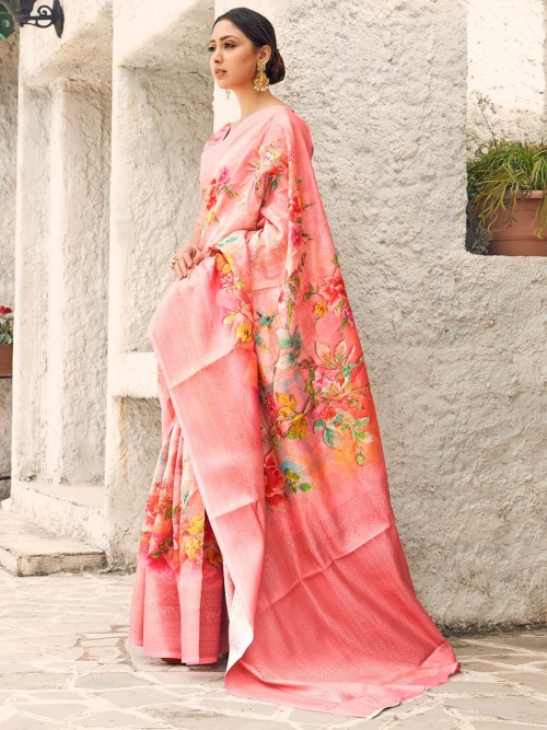 Stylish Digital Printed Pink Cotton Silk Saree