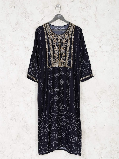 Stylish Navy Printed Cotton Kurti For Festival