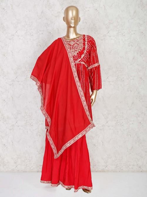 Stylish Red Peplum Kurti With Sharara For Festive