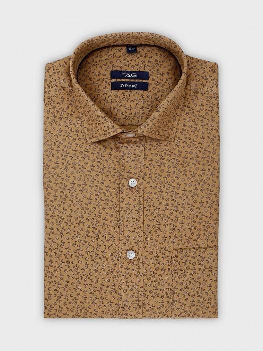 TAG Beige Printed Formal Slim Fit Shirt
