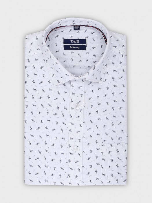 TAG Formal Wear White Color Printed Shirt