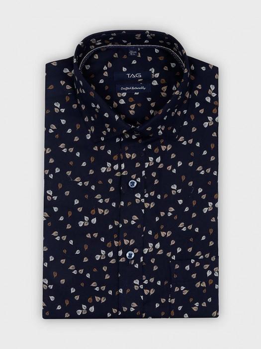 TAG Leaf Printed Navy Color Mens Shirt