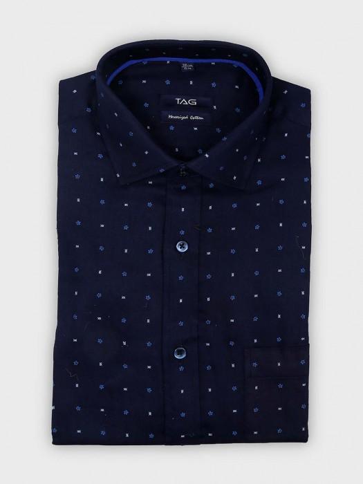 TAG Printed Navy Hue Slim Fit Shirt