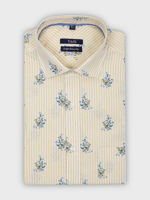 TAG Printed With Stripe Yellow Color Shirt
