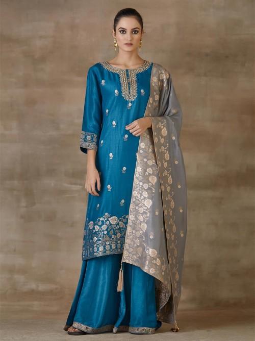 Teal Blue Designer Sharara Salwar Suit For Festivals In Cotton Silk