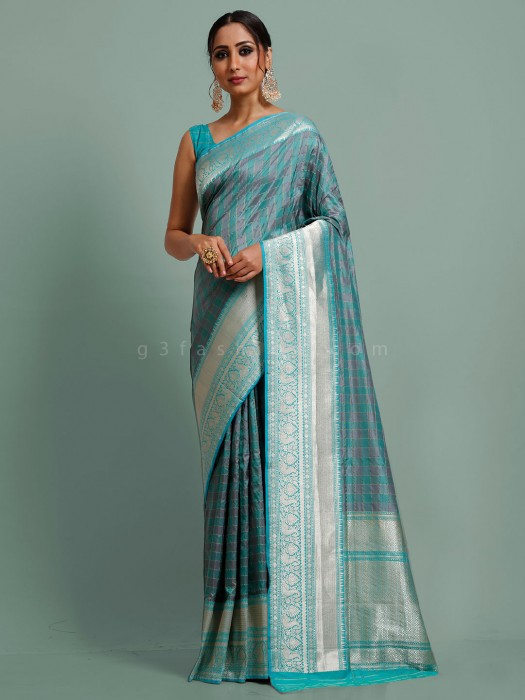 Teal Green And Grey Checks Banarasi Silk Saree