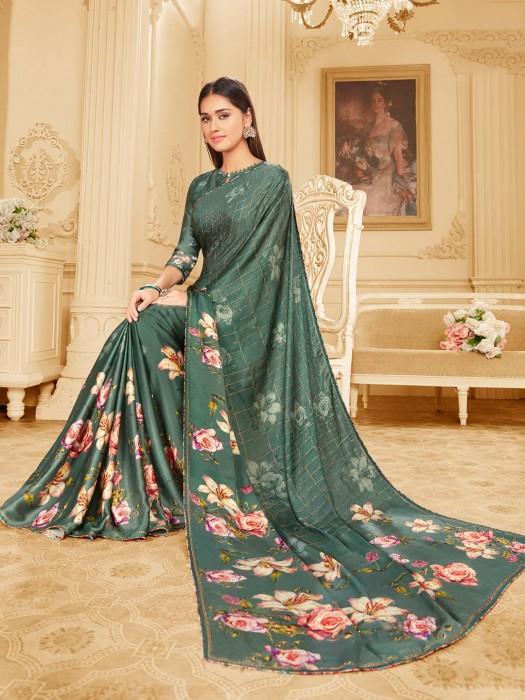 Teal Green Satin Printed Saree