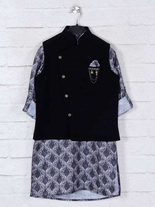 Terry Rayon Black And Grey Boys Waistcoat Set