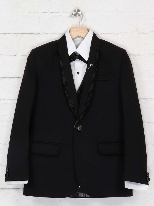 Terry Rayon Fabric Black Color Tuxedo Suit