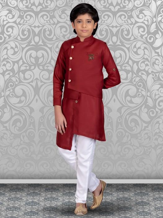 Terry Rayon Maroon Solid Waistcoat Set