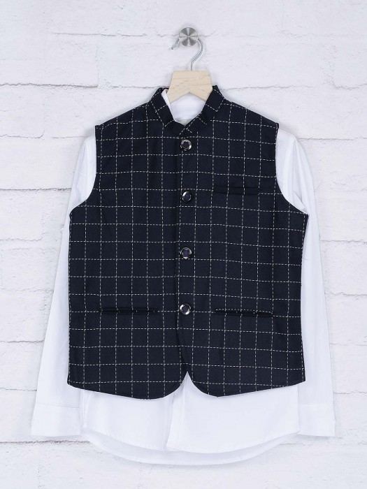 Terry Rayon Navy And White Waistcoat Shirt
