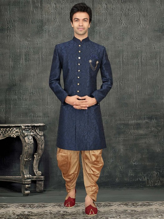 Terry Rayon Navy Party Indo Western With Dhoti