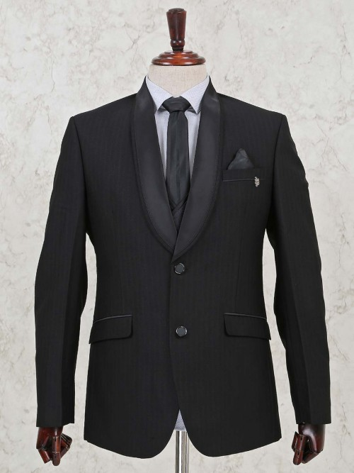 Terry Rayon Solid Black Three Piece Coat Suit