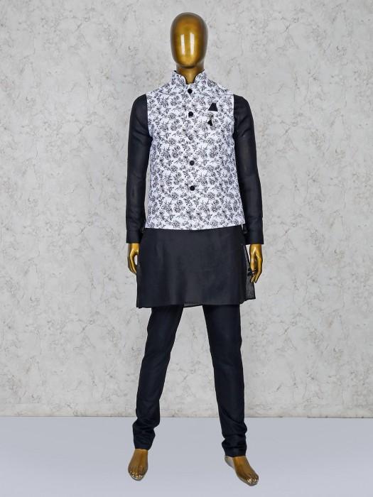 Terry Rayon White And Black Printed Waistcoat Set