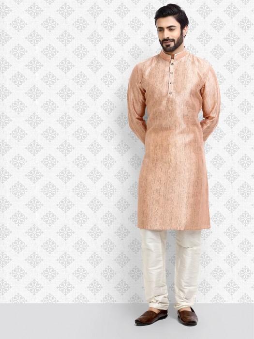 Textured Pattern Peach Cotton Kurta Suit