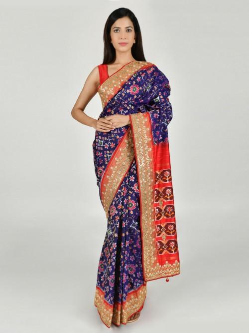 Thread And Zari Woven Royal Blue Patola Silk Saree