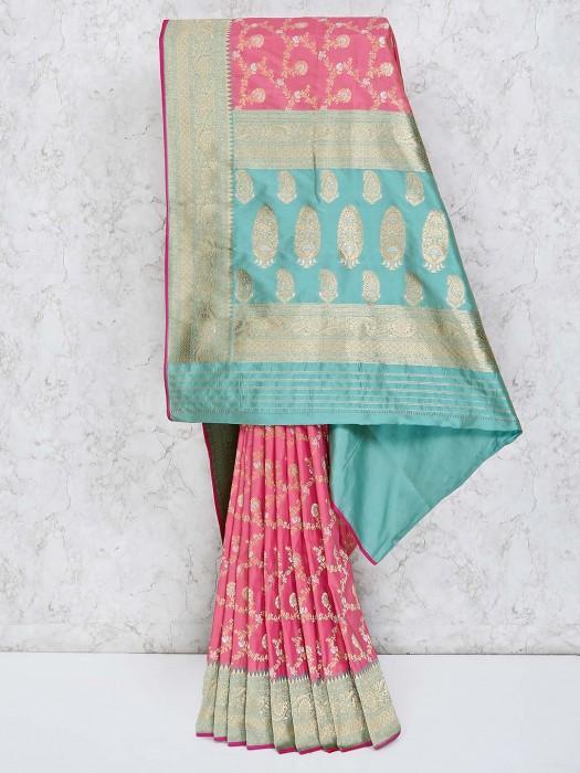 Thread Weaving Pink Semi Silk Saree
