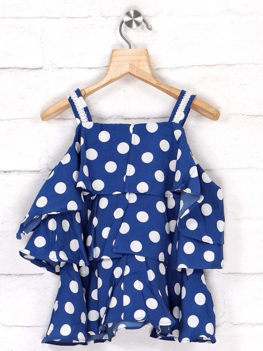 Tiny Girl Blue Cotton Top In Printed