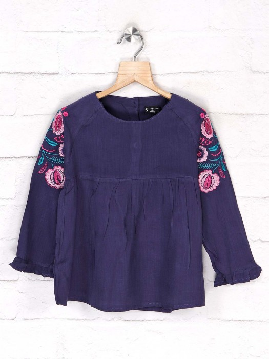 Tiny Girl Full Sleeves Solid Navy Top