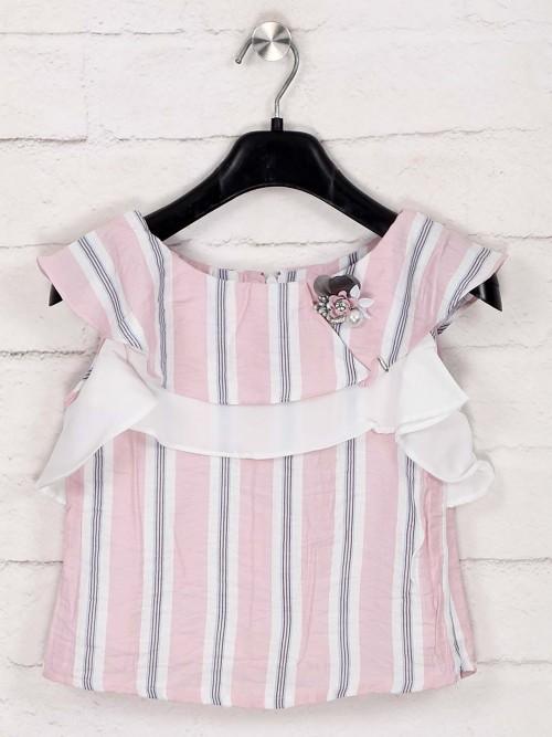 Tiny Girl Latest Stripe Pink Cotton Top