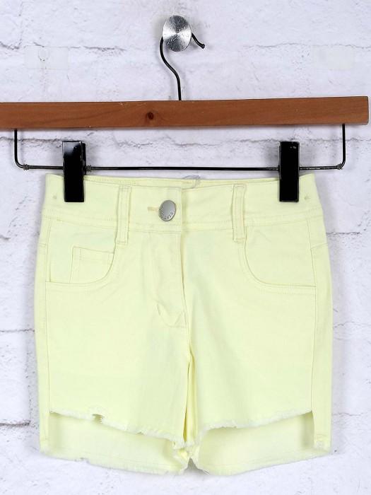 Tiny Girl Plain Lemon Yellow Simple Casual Shorts