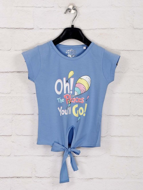 Tiny Girl Printed Blue Cap Sleeves Top