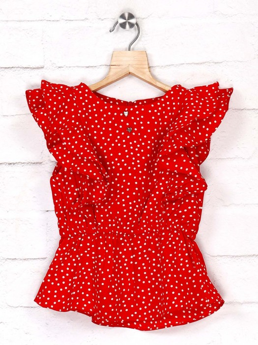 Tiny Girl Red Cotton Printed Top