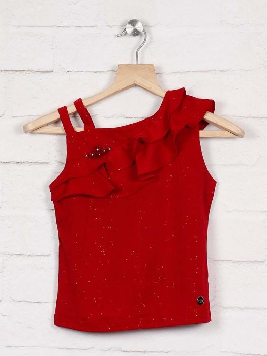 Tiny Girl Red Hue Designer Top For Little Girl