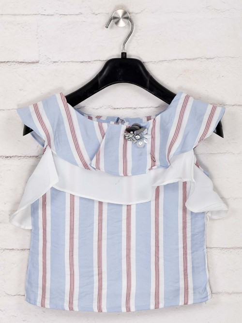 Tiny Girl Sky Blue Sleeveless Stripe Top