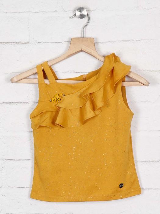 Tiny Girl Yellow Hue Cotton Fabric Designer Top