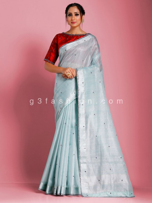 Tissue Cotton Sky Blue Oxodise Sequins Work Redymade Blouse Saree