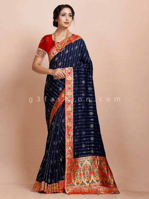Traditional Navy Festive Wear Exclusive Muga Silk Saree