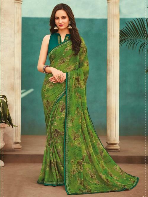Trending Green Georgette Festivals Wear Printed Saree