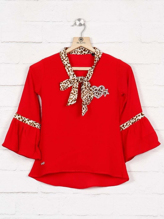 Twisty Red Color Beautiful Top For Women