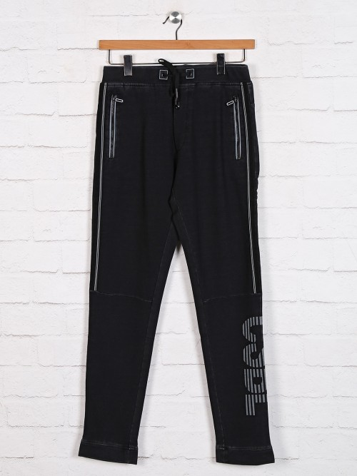 TYZ Presented Black Cotton Track Pant