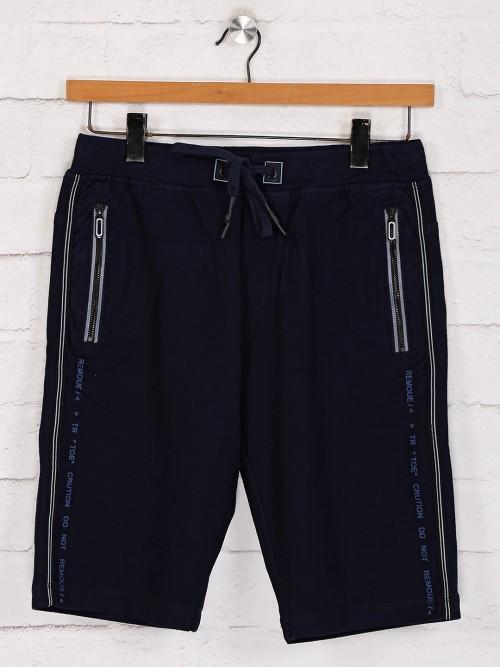 TYZ Solid Navy Mens Shorts